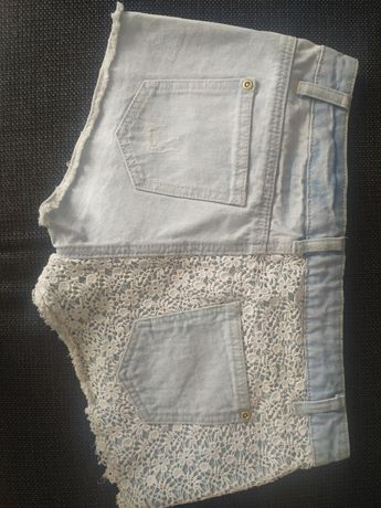 Spodenki jasne koronka jeans s m