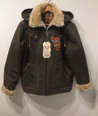 Nowa kurtka z metką khaki ocieplana z odpinanym kapturem na 148/ 152
