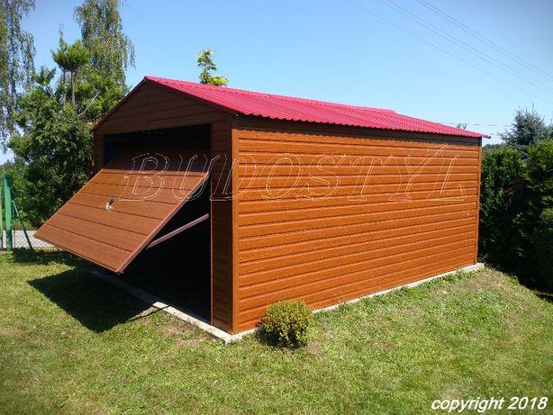 Garaż, garaże blaszane - imitacja drewna 3x5 typowy