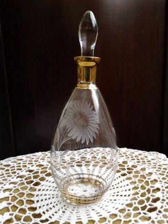 STARA KARAFKA SZLIFOWANA szkło zdobione złocone na nalewkę lub likier