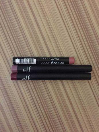 Лот карандашей для губ от e.l.f.(с айхерб) и maybelline ny