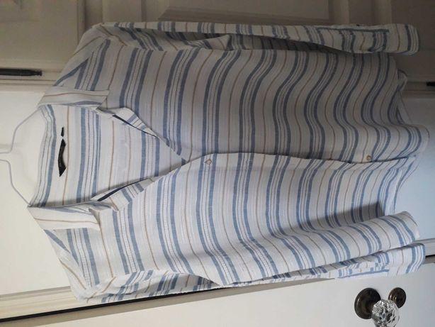 Camisa branca com riscas manga comprida