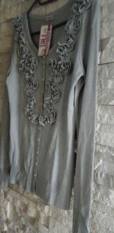 Sweter szary elegancki guziki 38/M