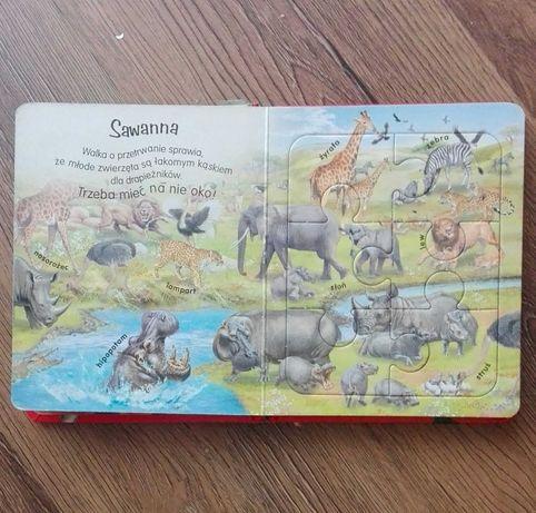 Książeczka z puzzlami dzikie zwierzęta 6 stron puzzli