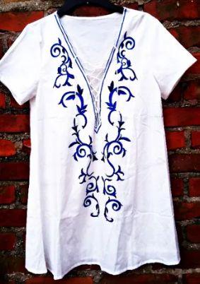 Piekna sukienka z wiazaniem print haft 100%silk