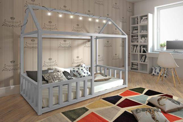 Jednoosobowe łóżko drewniane Domek w trzech kolorach, materac gratis