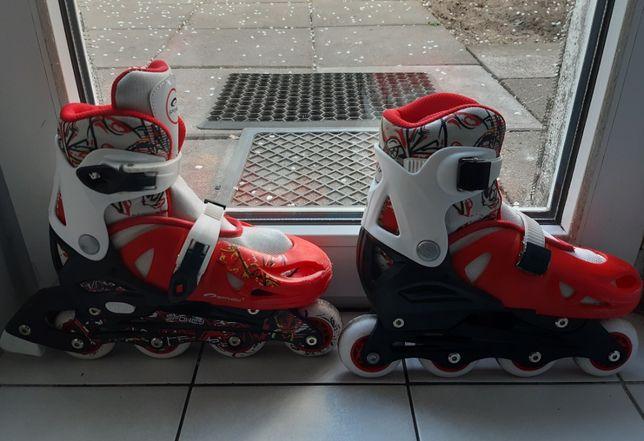 Łyżworolki firmy Spokey, kolor czerwono-biały, rozmiar 31-34.