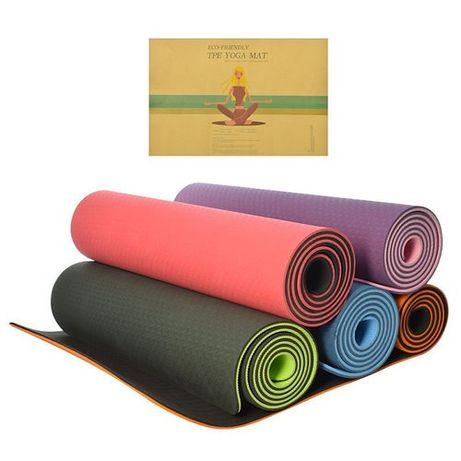 Коврик TPE+TC 6-8 мм каремат-мат для йоги пилатеса фитнеса йогамат