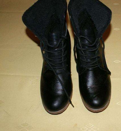 Czarne, ciepłe botki ,kozaczki na koturnie r. 39