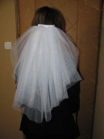 welon ślubny biały dwu warstwowy nowy 60cm.
