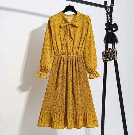 Горчичное платье шифоновое миди midi плиссе гірчичне плаття
