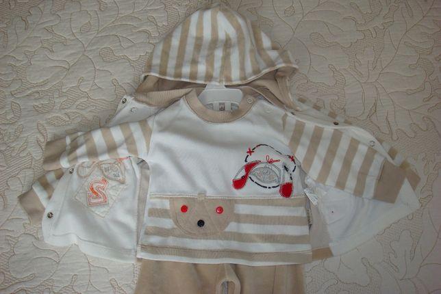 Детский костюм пижама тройка штаны реглам куртка с капюшоном.12-18м.