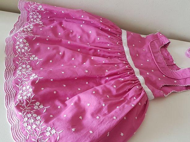 Śliczna sukienka haftowana 76 cm Marks&Spencer 9 -12 mies świąteczna