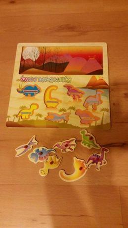 Puzzle drewniane dinozaury