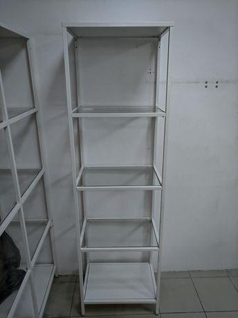 Стеллаж белый ИКЕА Витше металл., Стекло 51x36x175 см