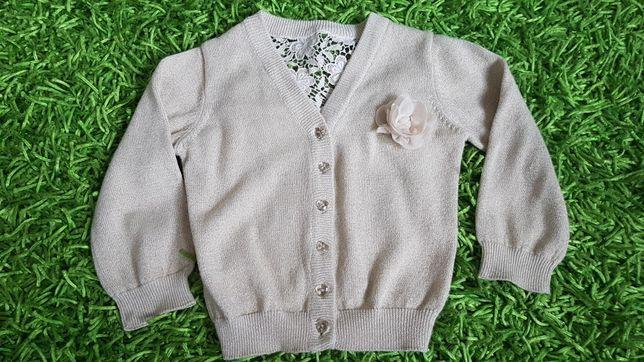 Piękny beżowy sweterek na guziki ze złotą nitką na Święta 2-3 lata, 98