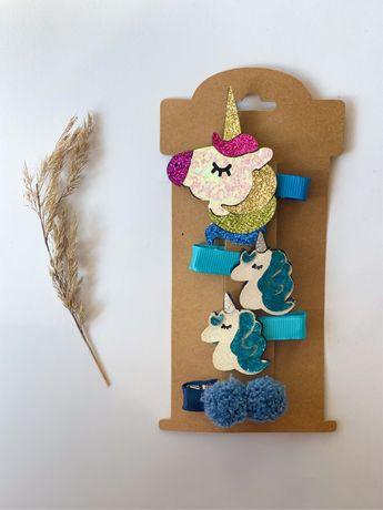Spinki do włosów zestaw handmade jednorożce