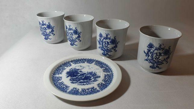 M853. Biała niebieska ceramika kubki i talerz