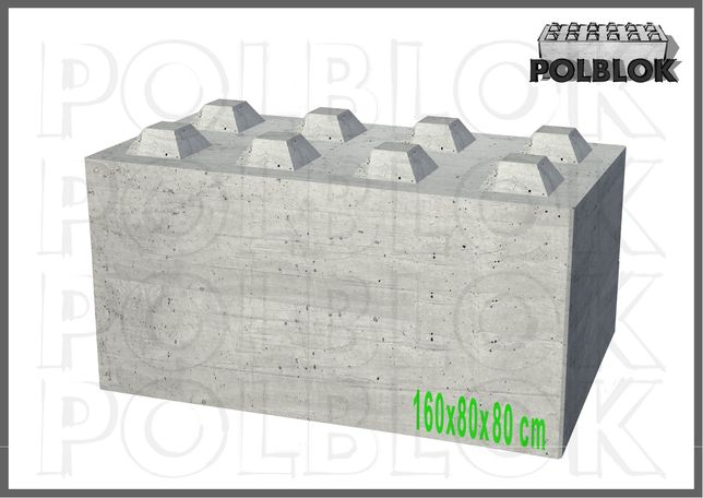 Klocki betonowe, bloko betonowe 160x80x80 Mury oporowe, elki betonowe