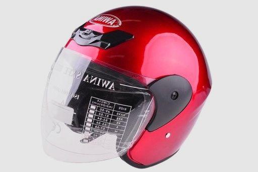 NOWY Kask otwarty Awina Czerwony MOTOR SKUTER