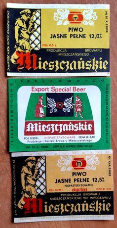 3 etykiety z Browaru Mieszczańskiego Wrocław