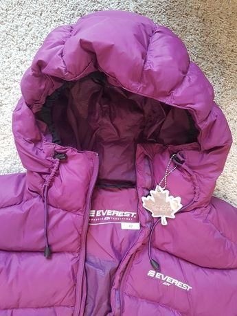 Fioletowa, puchowa kurtka zimowa damska Everest rozmiar 42