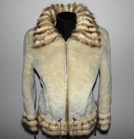 Куртка Шуба мутон с норкой , натуральная дубленка р.46-48