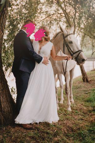 Suknia ślubna- piękna i oryginalna- dwa welony gratis!