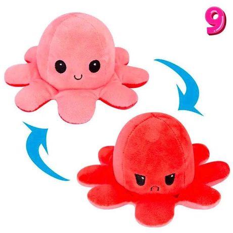 Восьминіг двосторонній(перевертиш) рожево-червоний. М'яка ірграшка