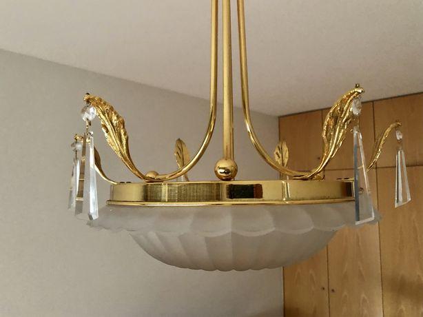 Candeeiro de teto (bronze dourado e vidro lapidado)