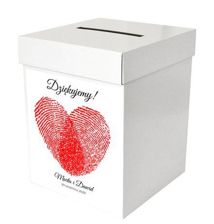 Pudełko na koperty z sercem z odcisków palców