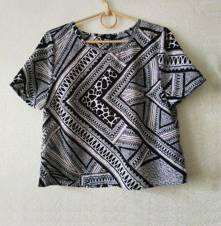 Трендовый кроп топ F&F, укороченная блузка, футболка черная белая