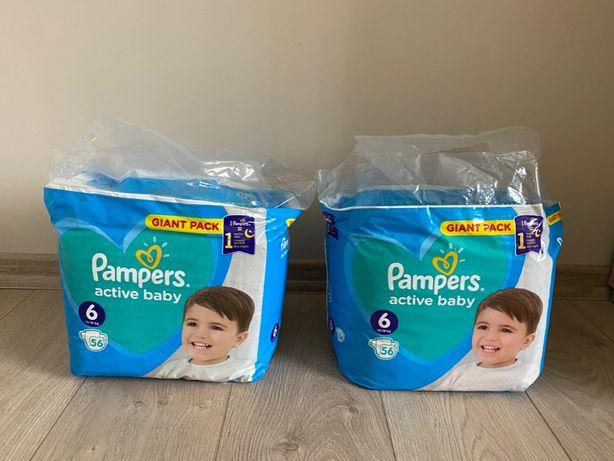 Pieluchy PAMPERS 6. 56 szt, 13-18 kg active baby - 2x