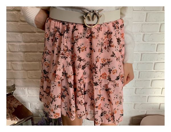 Pudrowa/różowa rozkloszowana spódnica w kwiaty XS S M L XL