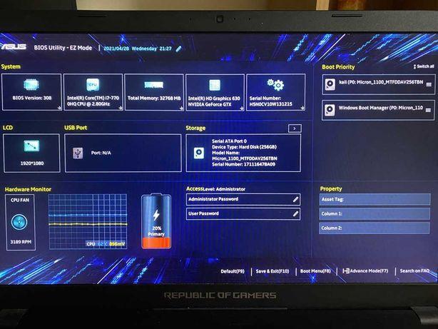 """Asus ROG Strix GL753VE/17.3"""" IPS Full HD/i7-7700HQ/32 GB/SSD 256GB/1TB"""