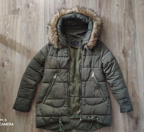 Pikowana kurtka zimowa JLQM Khaki z misiem