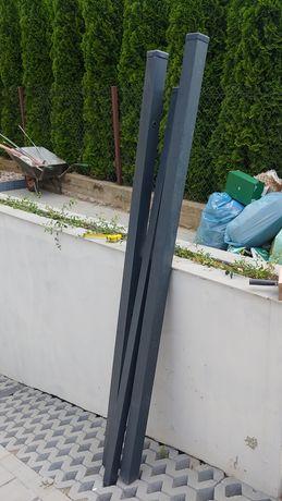 Słupki ogrodzeniowe 2szt. antracyt ocynkowane