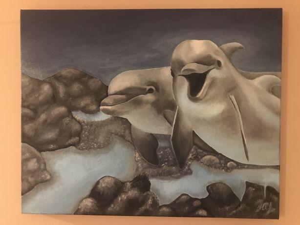 Картина маслом Дельфины Подводный мир