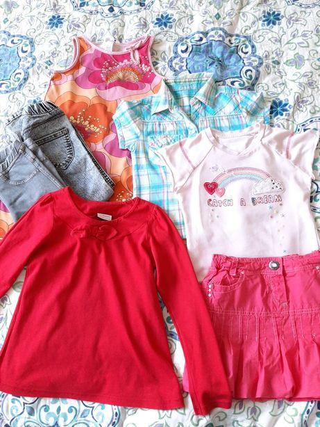Koszula, bluzeczka Next, legginsy Zara, sukienka 110 zestaw