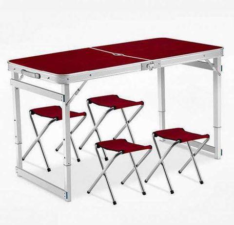 Стол усиленный для пикника раскладной с 4 стульями Коричневый