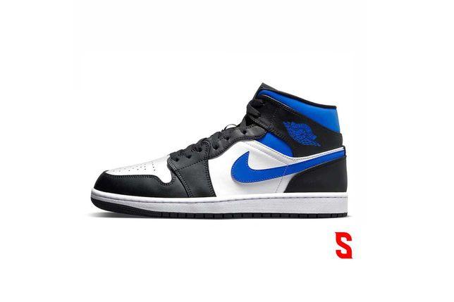 Jordan 1 mid White Black Royal 'Racer Blue'