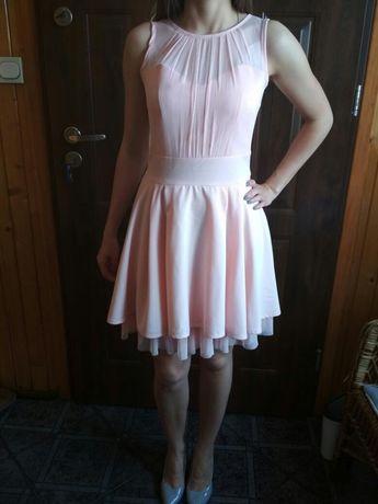 Sukienka, suknia wieczorowa, wesele, studniówka, różowa/łososiowa
