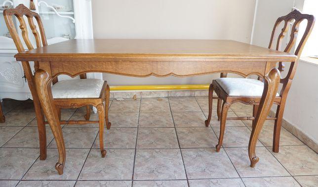 stół ludwikowski ludwik antyki stary drewniany dębowy rozsuwany zestaw