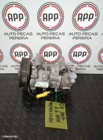 Compressor ar condicionado PSA de 2007, 307,C4,308, Picasso 1.6 HDI referência 9659875780.