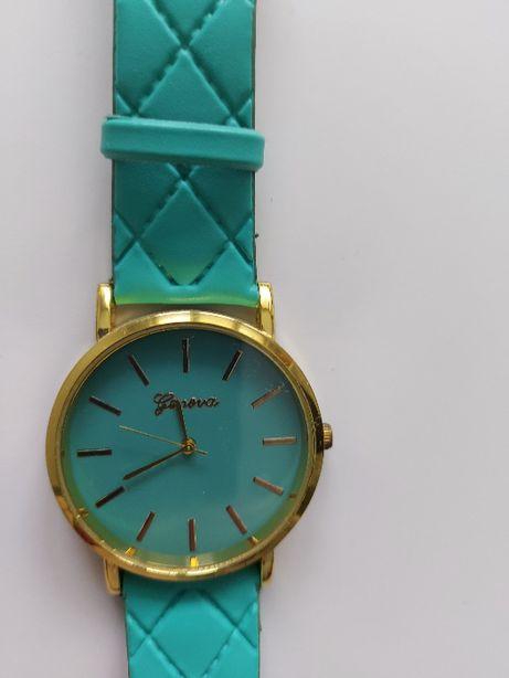 Turkusowy zegarek pikowany pasek złota tarcza Genova
