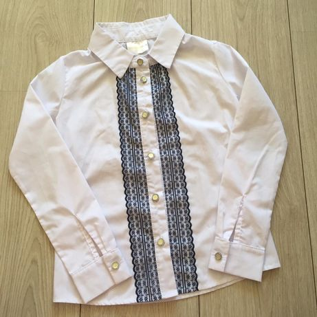 Блузка рубашка школьная  Барбарис для девочки белая рост 122