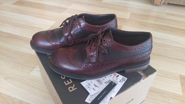 Eleganckie pantofle skórzane ze skóry oxfordy 37