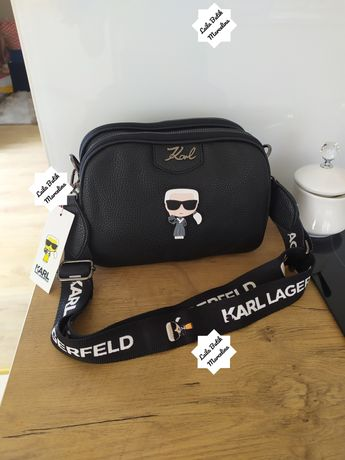 Torebka damska listonoszka kuferek Karl Lagerfeld 3 przegrody skórzana