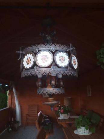 Stary żyrandol porcelanowe talerzyki ręcznie malowany.