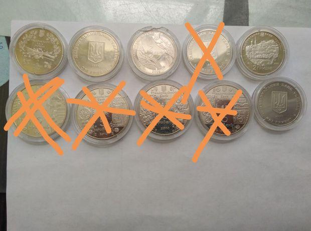 Монеты две гривны и пять гривень Украина, в банковском состоянии.